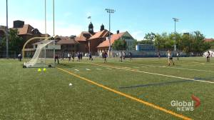 John Abbott College athletes back on the pitch after a long COVID-19 induced break (01:54)
