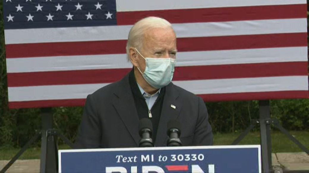 Click to play video 'Joe Biden says Trump testing positive shows why COVID-19 must be taken seriously'