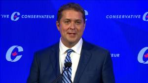 Andrew Scheer compares left-wing rhetoric to communism in final speech as party leader (00:33)
