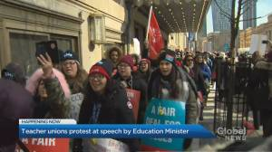 Teachers picket on Front Street as Lecce delivers speech in Toronto