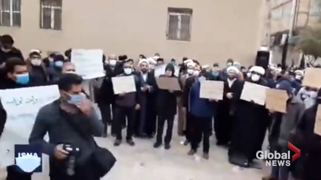 Click to play video 'Protesters rally in Qom following assassination of Iran's top nuclear scientist'