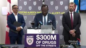 Alberta justice minister pleased with massive drug bust: 'This is a great day' (02:42)