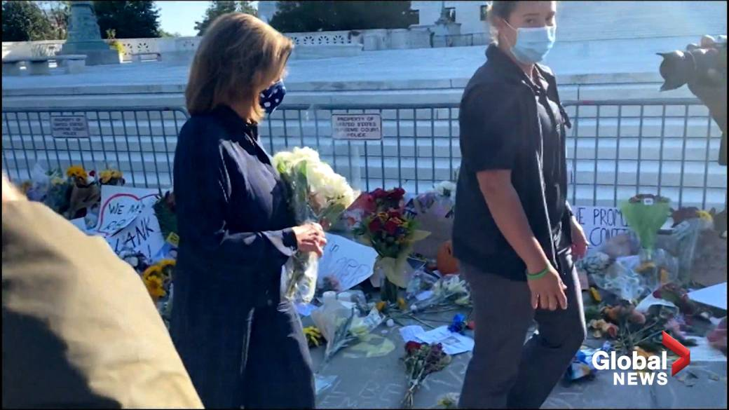 Click to watch the video 'Nancy Pelosi leaves flowers at Ruth Bader Ginsburg memorial'