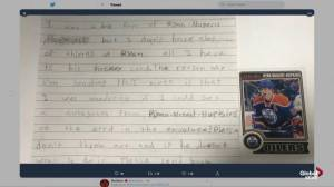 Edmonton Oilers connect with boy wrote letter requesting Ryan Nugent-Hopkins signature