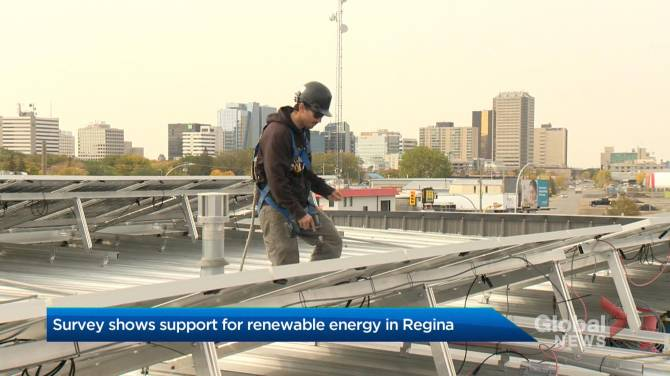 Click to play video: Survey shows support for renewable energy in Regina