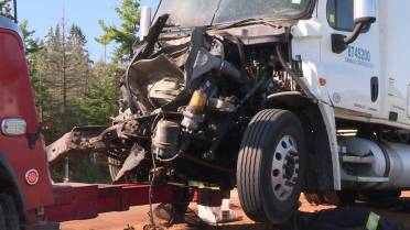 3-transport truck collision closes eastbound lanes of Hwy
