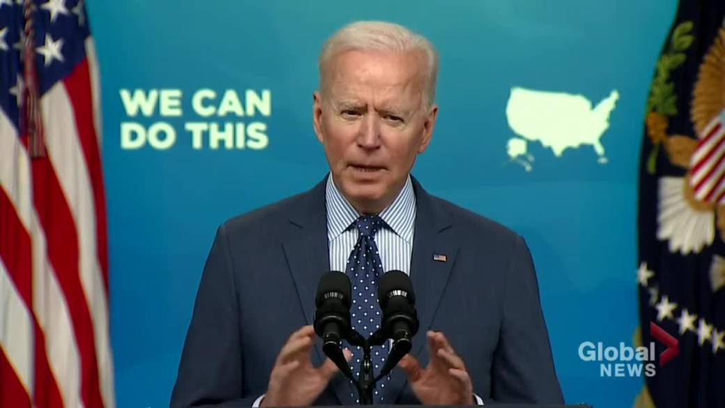 Click to play video: 'Biden says 52% of adults fully vaccinated against COVID-19 in U.S.'