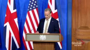 U.K. foreign secretary shares meeting outcomes with U.S. counterpart (01:16)