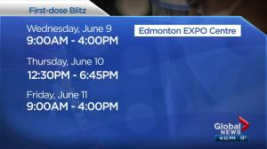Drop-in 1st doses of vaccine available at Edmonton Expo Centre (02:46)