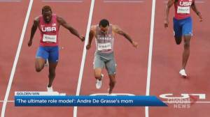 'The ultimate role model': Andre De Grasse's mom reacts to gold medal win (02:19)