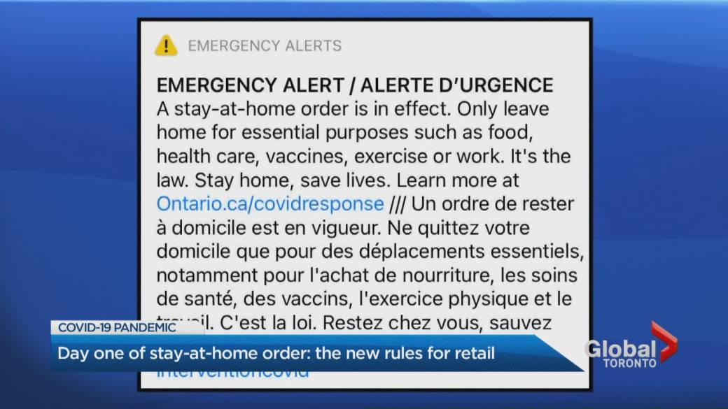 Click to play video: 'Non-essentials cordoned off at big-box stores during Ontario's COVID-19 stay-at-home order'