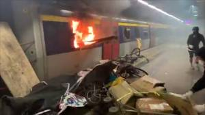 Protesters in Hong Kong set train ablaze during heated round of protests