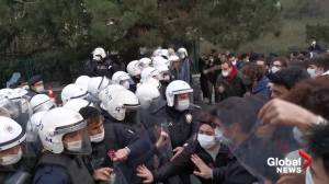 Student protesters clash with Turkish police over appointment of university rector (01:25)