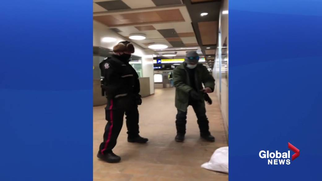Click to play video 'Homeless people eating inside an LRT station sent out into the bitter cold'