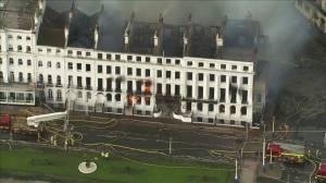 Major fire engulfs English seaside hotel