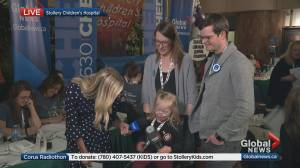 Stollery success story talks to Global News at Corus Radiothon
