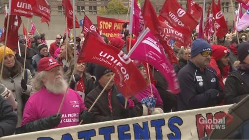 Hundreds protest Ontario health-care funding