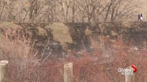 May 14 grass fire in Lethbridge river valley caused by improper disposal of smoking materials