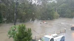 Man rows boat down flooded street on Queensland Gold Coast