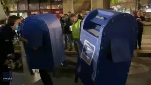 U.S. election: Demonstrators get funky in costumed dance party as vote count continues in Philadelphia (01:45)