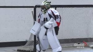 9-year-old Saskatchewan goalie cutting grass for gear and goodwill (01:50)