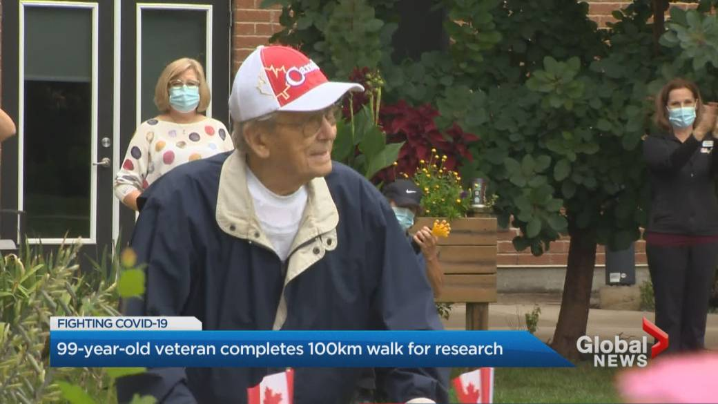 Click to play video '99-year-old WWII Newmarket veteran hits 100-kilometre walking milestone for COVID-19 research'