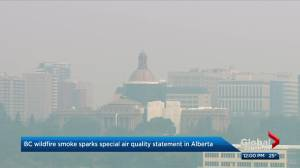 Poor air quality across much of Alberta due to drifting B.C. wildfire smoke (02:16)