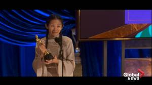 Oscars 2021: Chloé Zhao makes history as 1st woman of colour to win best director award (00:33)