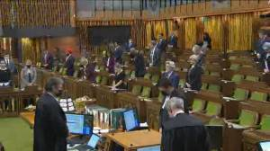 Members of Parliament stand for moment of silence in honour of murdered teacher in France (01:32)