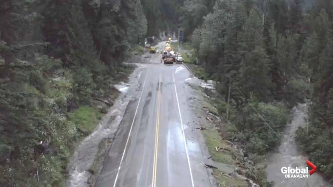 Click to play video: Drone video of Trans-Canada Highway flood repair in B.C.