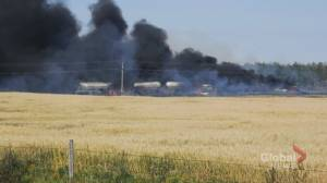 1 person dead in fiery crash near Cereal, Alberta