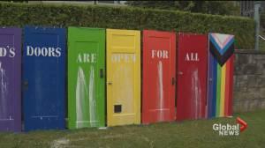 Vandals target church Pride display with graffiti (00:56)