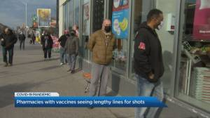 Lineups continue at Ontario pharmacy for AstraZeneca vaccine (02:41)