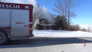 Firefighters battle house fire near Janetville (01:09)