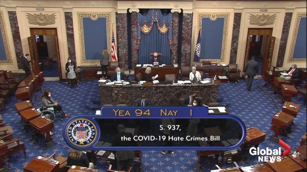 Click to play video: 'U.S. Senate passes bill to fight anti-Asian hate crimes'