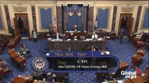 U.S. Senate passes bill to fight anti-Asian hate crimes (01:14)