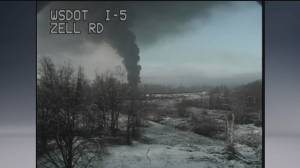 Train carrying crude oil derails in Washington State near Canadian border (00:33)