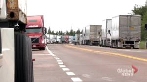 Blockade at N.S.-N.B. border preventing transport of services, goods (01:54)