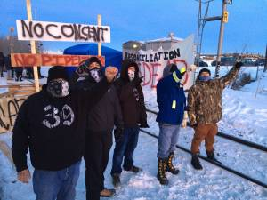 Demonstrators block rail line in west Edmonton in solidarity with Wet'suwet'en