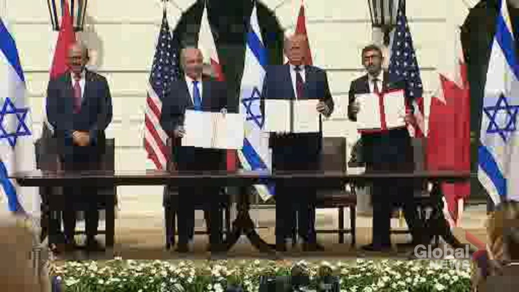 Click to play video 'Trump welcomes leaders of Israel, UAE and Bahrain to White House to sign historic agreements'