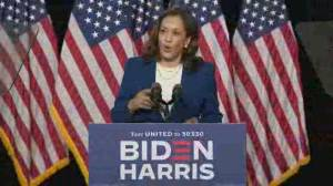 Biden, Harris make appearance in first campaign event