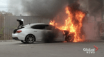 New luxury car catches fire outside Port Hope convenience store