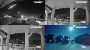 Bright meteor lights up the Alberta sky on Monday morning (01:56)
