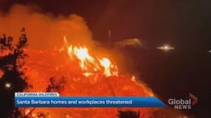 California wildfires threaten Santa Barbara homes, workplaces (01:17)