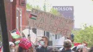 Thousands of Palestinian supporters demonstrate in Montreal against Israel's military actions (01:57)
