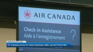 Air Canada says top executives returning COVID-19 bonuses after 'public disappointment' (00:33)