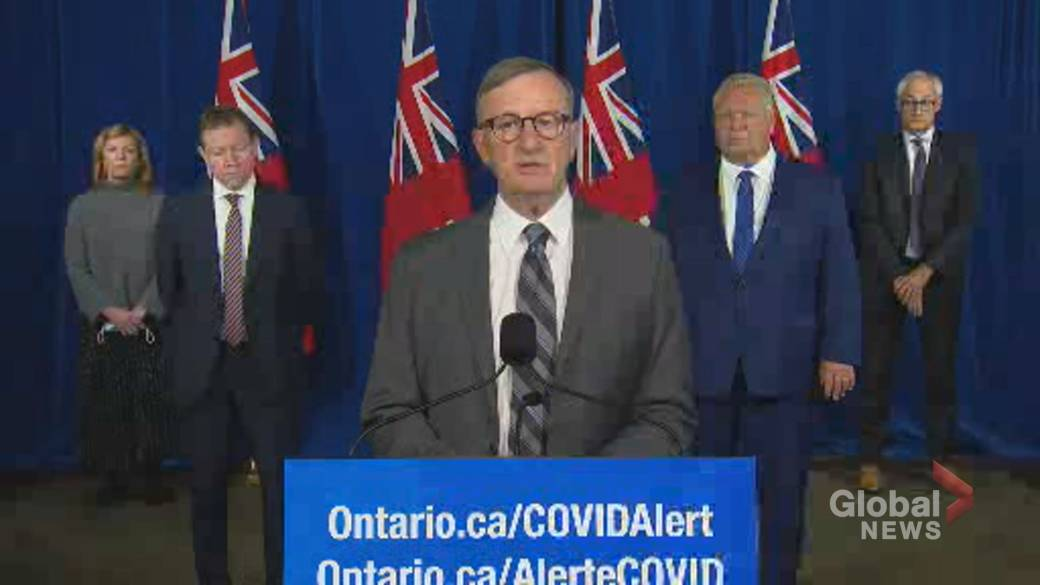 Click to play video 'Coronavirus: Ontario's top doctor responds to Dr. Eileen de Villa's call for stricter restrictions'