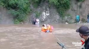 Honduras firefighters rescue people stranded in floodwaters from Tropical Storm Eta (00:37)