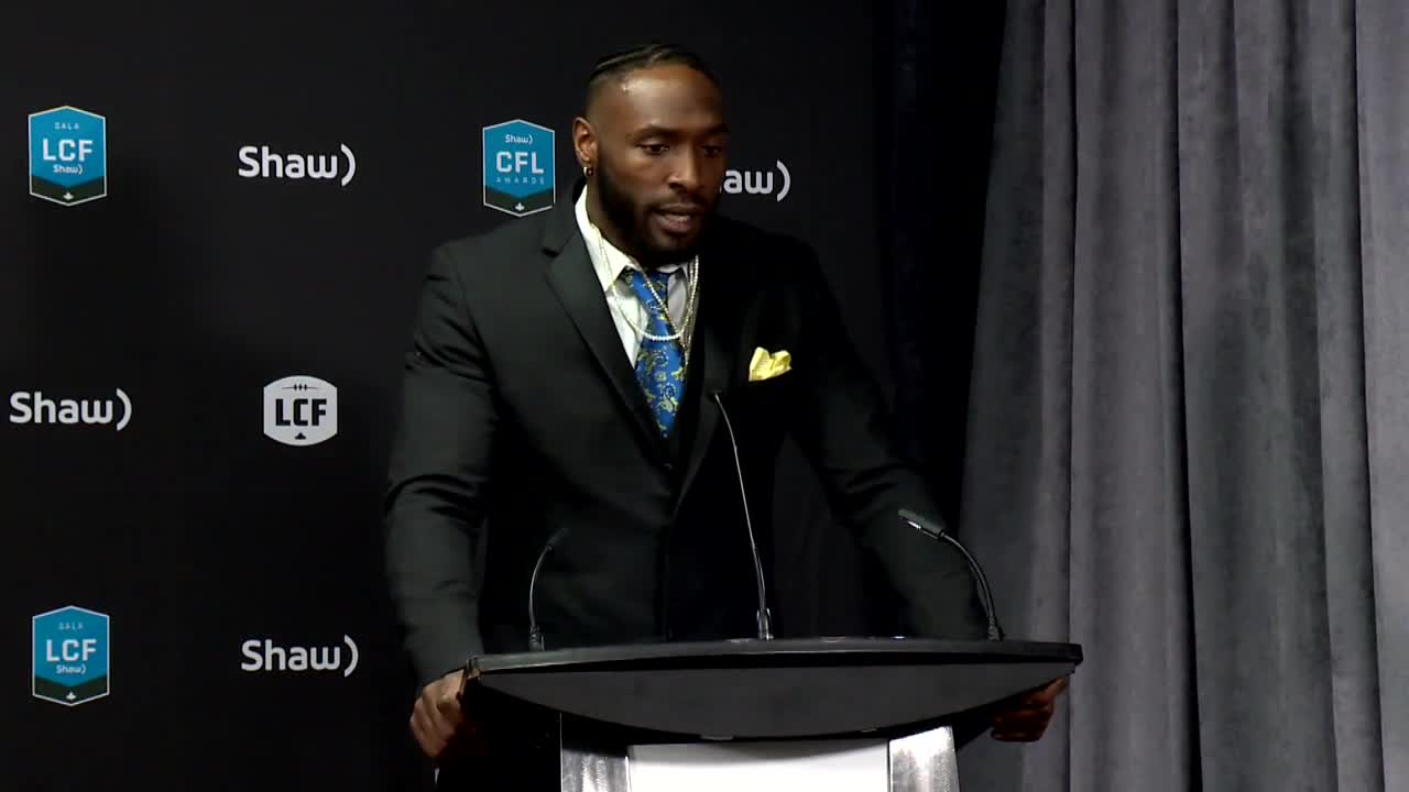 RAW: Blue Bombers Willie Jefferson Wins CFL Award