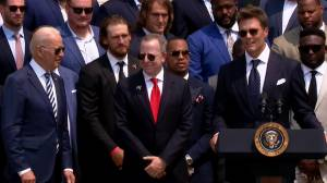 '40 per cent of people still don't think we won': Brady jokes during visit to White House (02:35)